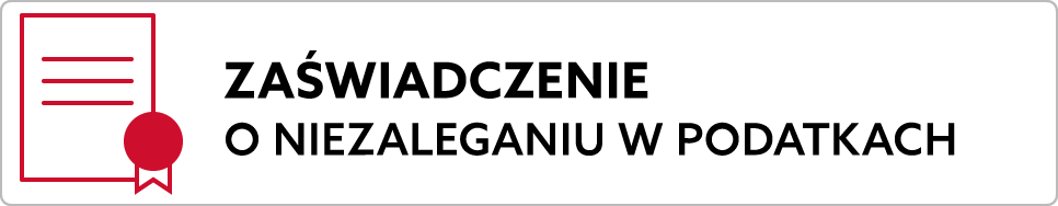 Baner:zaświadczenie o niezaleganiu. Prowadzi na stronę biznes.gov.pl.